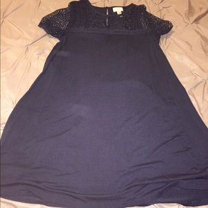 Very Soft material midi navy blue dress
